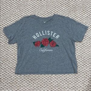 Hollister crop gray Tshirt floral front design
